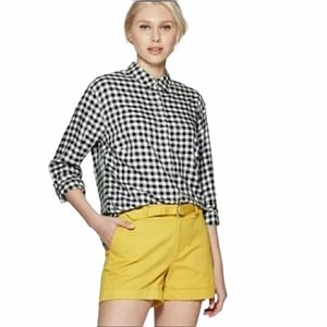 A New Day Black Gingham Button Collared Shirt